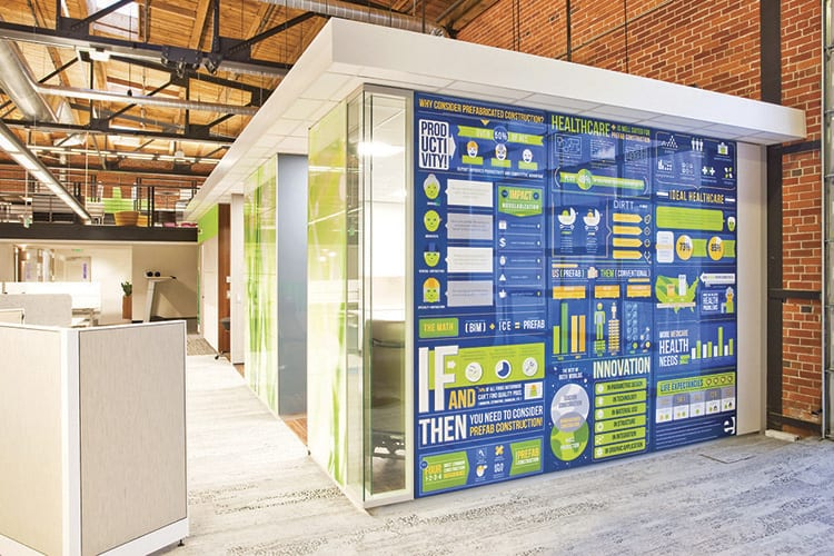 Our new DIRTT modular construction health care enclosure features custom infographic art panels by the Elements marketing team.