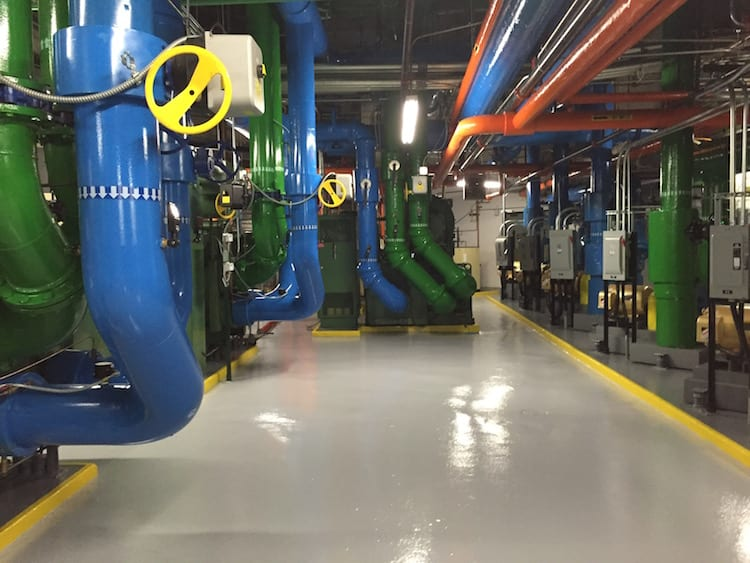 A look at the inside of the main mechanical room at 1670 Broadway, a Cushman & Wakefield managed property.